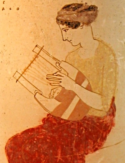 muse with lyre, from an ancient Greek vase