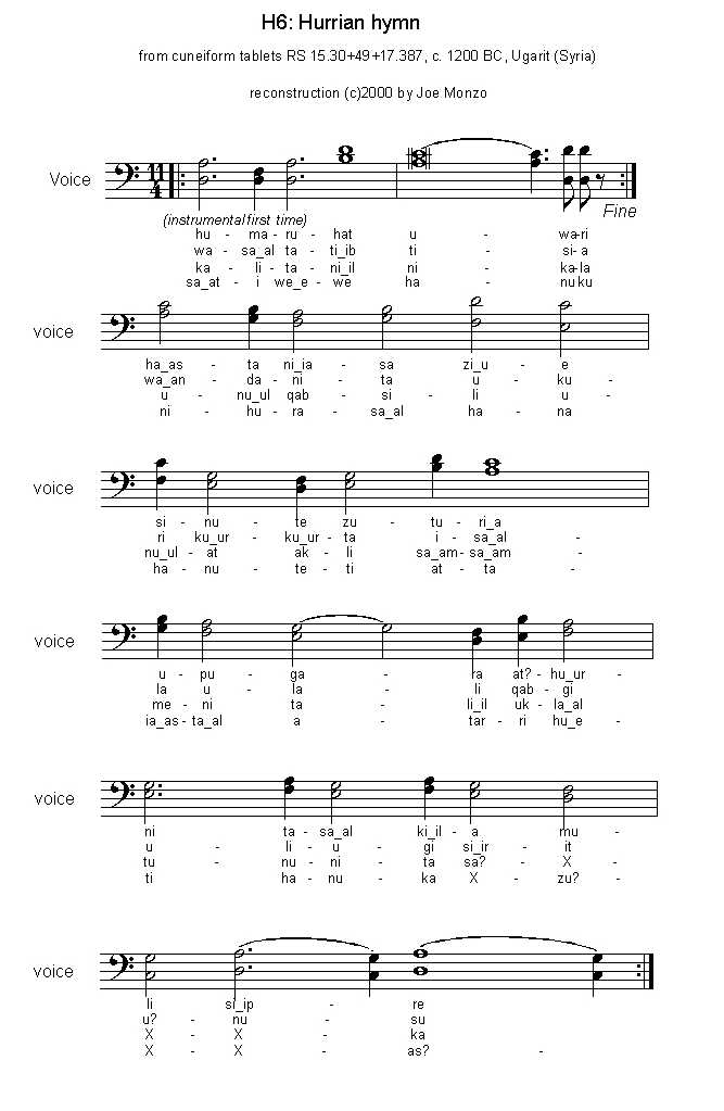 A New Reconstruction of the Hurrian Hymn, by Joe Monzo